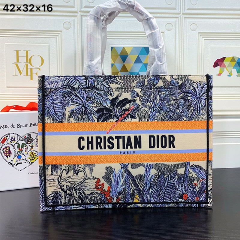Dior Book Tote in Embroidered Canvas Blue