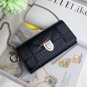 Diorama Patent Calfskin Chain Wallet Black