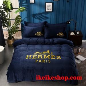 エルメス 寝具 HERMES シルク 布団カバーセット 4点 掛け布団カバー Hermes ベッドシーツ 枕カバー暖か ...
