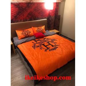 HERMES ロゴ付き 寝具カバーセット 布団カバー エルメス オレンジ 橙 寝具カバー 北欧 Hermes ベッド用 ...