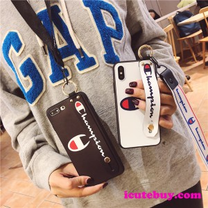 チャンピオンのネックストラップ付き iPhone xs/xr/11proケース Champion Galaxy S10/S10plus/Note9ケ ...