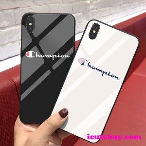 チャンピオン iPhone xs/xrケース Champion Galaxy S10/S10+ケース 強化ガラス 白 黒 男女 ペア用 お洒 ...