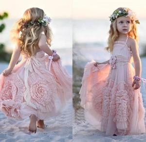 2020 Princess A Line Lovely Long Hand-Made Flower Chiffon Flower Girl Dresses – smilepromdress-es