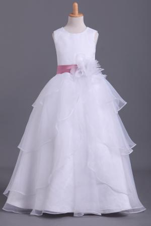 2019 White Flower Girl Dresses Ball Gown Scoop Floor Length – smilepromdress-es
