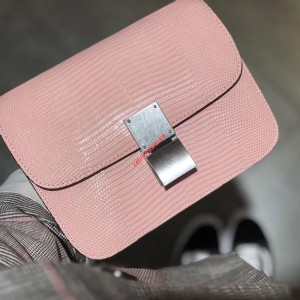 Celine Classic Bag In Lizard Pink
