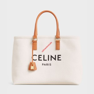 Celine Horizontal Cabas In Canvas With Celine Print And Calfskin Beige