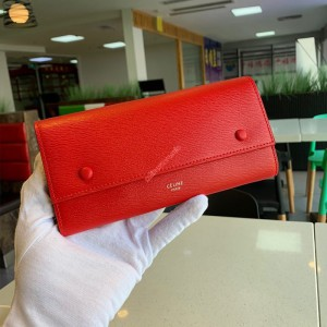 Celine Large Flap Wallet In Grained Calfskin Red