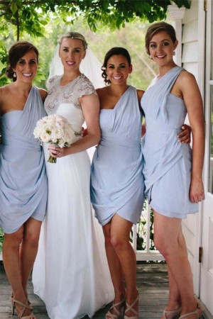 Elegant One Shoulder Short Sky Blue Cute Bridesmaid – smilepromdress-es