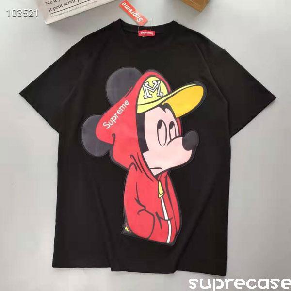 シュプリーム ミッキーコラボ Tシャツ ディズニー ミッキー ペアルックtシャツ 2020年新品 半袖 DISNE ...