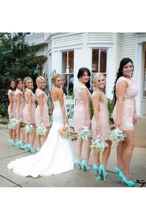 2019 Sexy Open Back Scoop Bridesmaid Dresses Sheath – smilepromdress-es