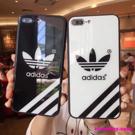アディダス iPhone11 Proケース 強化ガラス iPhoneXS GalaxyS10 Plusケース Adidas 白 黒 カジュアル系 ...