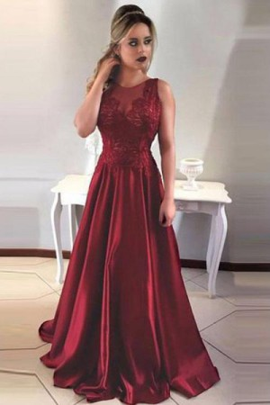 Prom Dresses ,Simple A-Line Round Neck V-Back Maroon Satin Lace – smilepromdress-es Link:https:/ ...