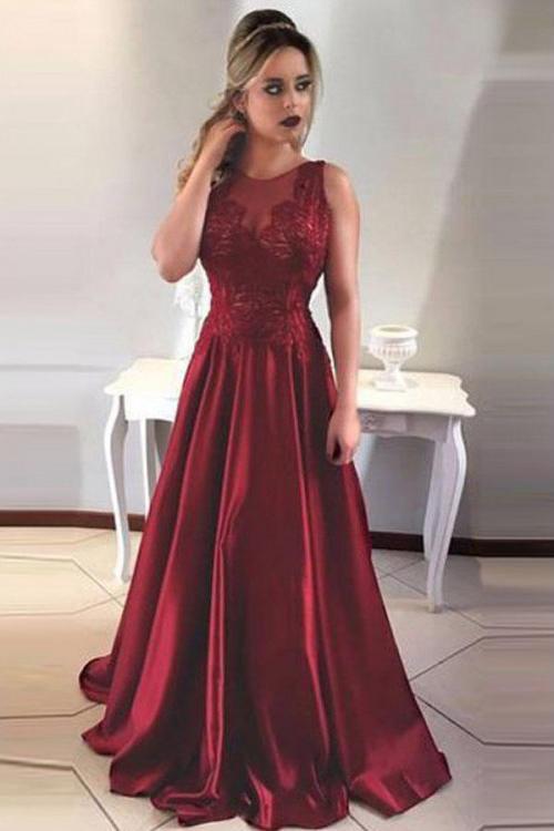 Prom Dresses ,Simple A-Line Round Neck V-Back Maroon Satin Lace – smilepromdress-es Link:https:/ ...