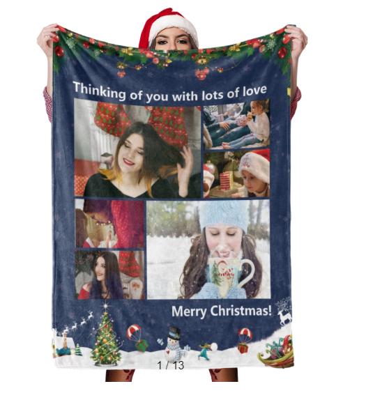 Christmas Blanket Gift Custom Blankets Personalized Photo Blankets Custom Collage Blankets