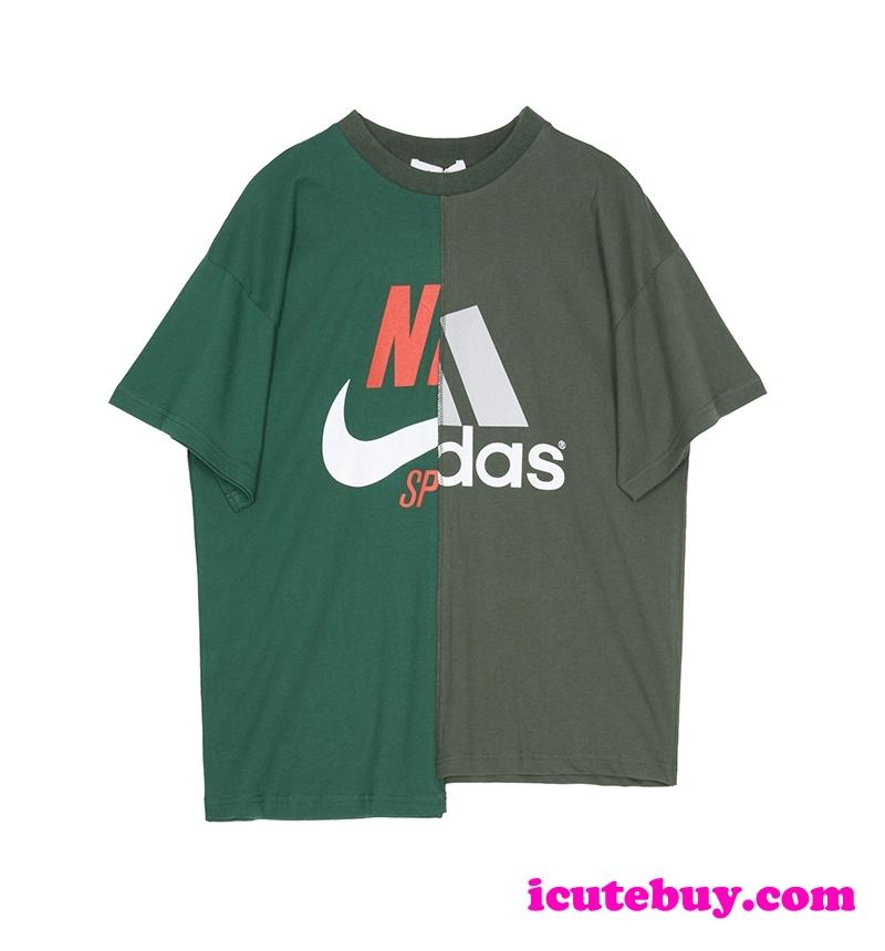 パロディ風 アディダス ナイキ コラボ Tシャツ スプライス式 個性 ユニセックス 限定製品 icutebuy.com