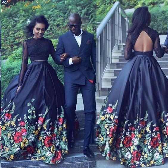 Two Piece Lace Floral Print Black Sexy Open Back Long Sleeve High Neck Prom Dresses PW56 on sale ...