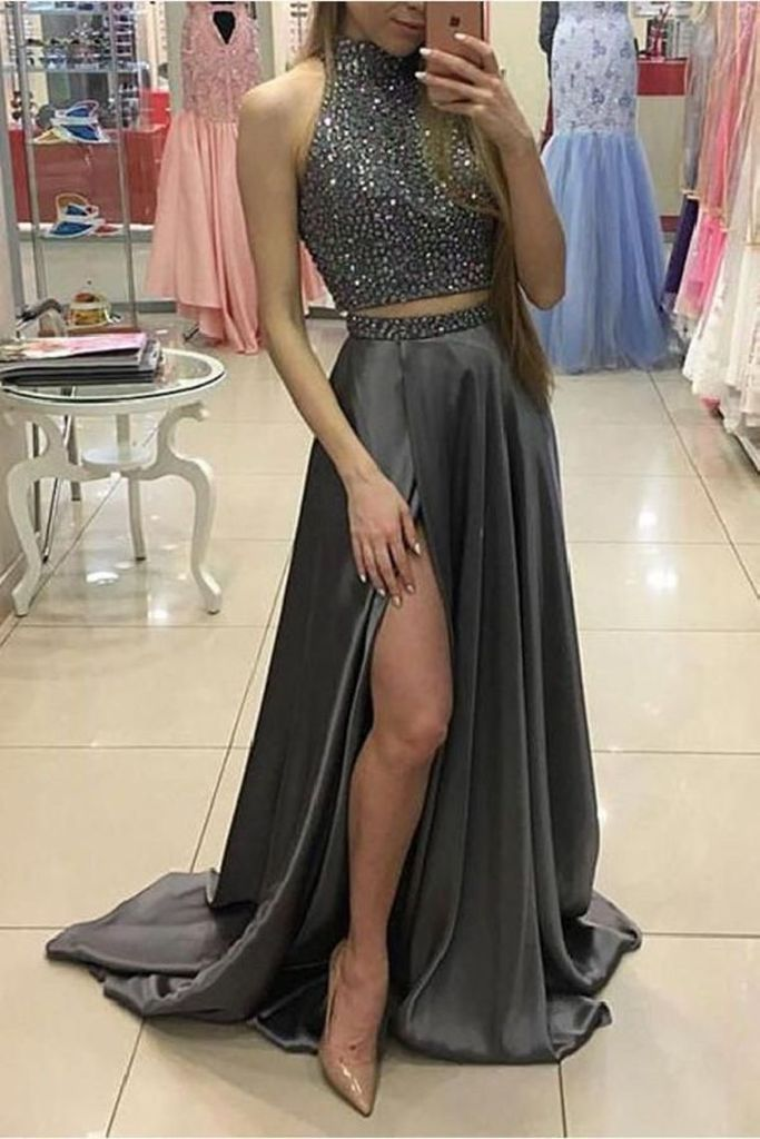 Two Pieces Gray Beading Long A-Line Front Split Elegant Prom Dresses F – smilepromdress-es https ...