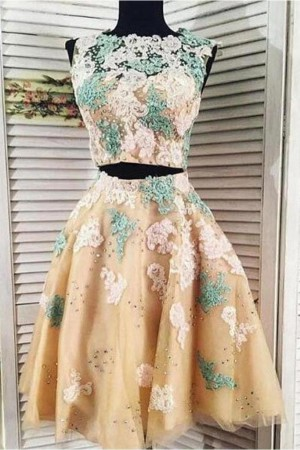 Two Pieces Lace Tulle Homecoming Dress – smilepromdress-es