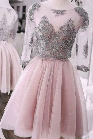Two Pieces Short Prom Dress Cute Lace Homecoming Dress Tulle Cocktail – smilepromdress-es