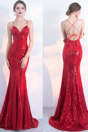 V-Neck Red Mermaid Spaghetti Strap Backless Sequin Evening Dresses – smilepromdress-es Link:http ...
