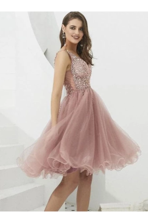 V-Neck Tulle With Beaded Short Homecoming – smilepromdress-es