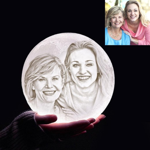 Personalised 3D Photo Moon Light Lamp,Personalised Gift Valentine's Day Gift – Photo ...