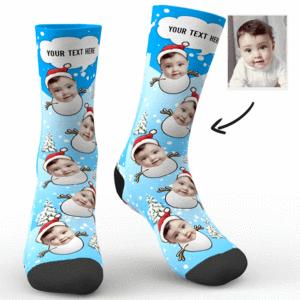Weihnachten Schneemann Babe Foto Socken mit Text – MadeMine.de