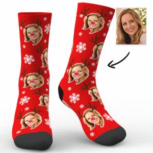 Weihnachtsrotwild und Schneeflocke Socken – MadeMine.de