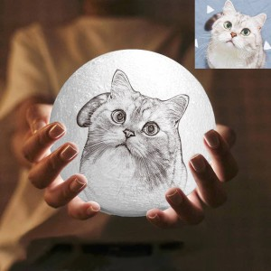 16 Color Personalized Custom 3D Printing Photo Moon Light Lamp For Pets,Dogs&Puppy – G ...