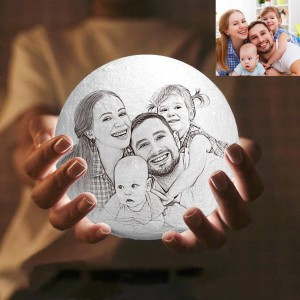 16 Color Personalized Custom 3D Printing Photo Moon Light Lamp,Anniversary,Birthday,Family Gift  ...
