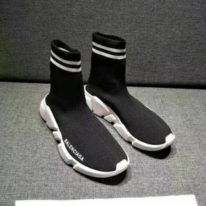 Balenciaga Stripe Speed Sneaker In Black Outlet Balenciaga Cheap Sale Store