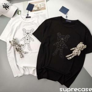 ルイヴィトン Tシャツ カジュアル ティーシャツ モノグラム LV tシャツ ゆったり 可愛い 熊クマ付き ヴ ...