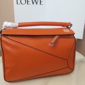 Loewe Puzzle Bag Classic Calf In Orange Outlet Loewe Cheap Sale Store
