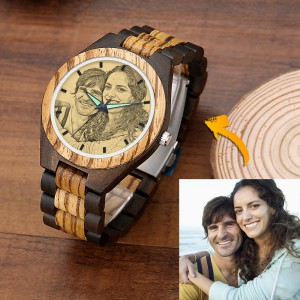 Men's Engraved Wooden Photo Watch Wooden Strap 45mm – GetCustomPhoneCase