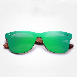 Natural Bamboon Sunglasses Square Wood For Men/Woman – Green – EyeWearShop