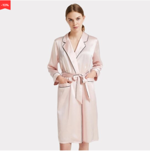 22 Momme High Quality Flesh Pink Turndown Collar Silk Robe