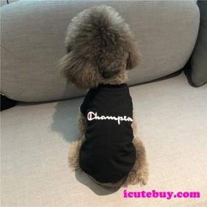 2020年新品 チャンピオン 犬ウェア Tシャツ Champion 刺しゅう ペットウェア 春夏用 ドッグウェア CHAM ...