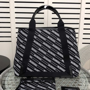 Balenciaga Allover Diagonal Logo Navy Meidium Cabas In Black Outlet Balenciaga Cheap Sale Store