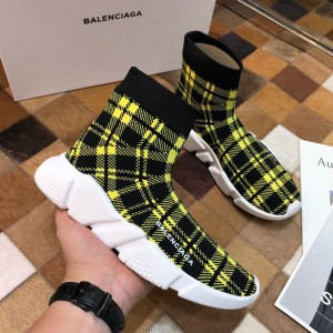 Balenciaga Check Speed Sneaker In Yellow Outlet Balenciaga Cheap Sale Store