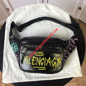 Balenciaga Explorer Graffiti Beltpack In Black/Yellow Outlet Balenciaga Cheap Sale Store