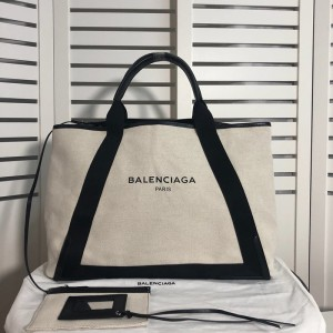 Balenciaga Navy Large Cabas Canvas And Calfskin In Beige Outlet Balenciaga Cheap Sale Store