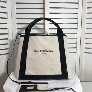 Balenciaga Navy Medium Cabas Canvas And Calfskin In Beige Outlet Balenciaga Cheap Sale Store