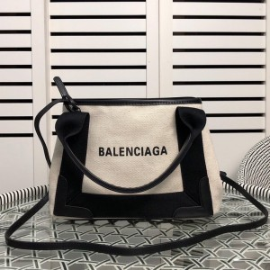 Balenciaga Navy XS Cabas In Beige Outlet Balenciaga Cheap Sale Store