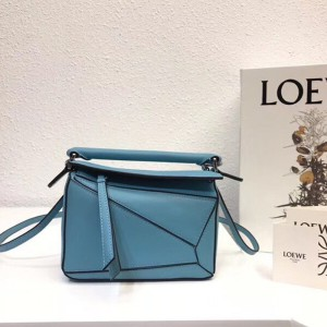 Loewe Puzzle Mini Bag Classic Calf In Light Blue Outlet Loewe Cheap Sale Store