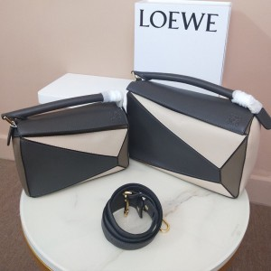 Loewe Puzzle Patchwork Bag Calfskin Grey Outlet Loewe Cheap Sale Store