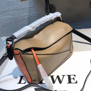 Loewe Puzzle Patchwork Bag Calfskin Khaki Outlet Loewe Cheap Sale Store