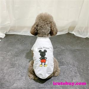 ミッキーマウス ドッグウェア 可愛い 犬シャツ Mickey Mouse 白 黒 ワンちゃん服 夏 お散歩