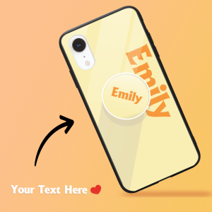 Custom iPhone Case & Grip With Name Pale Lemon Text iPhone Case – GetCustomPhoneCase