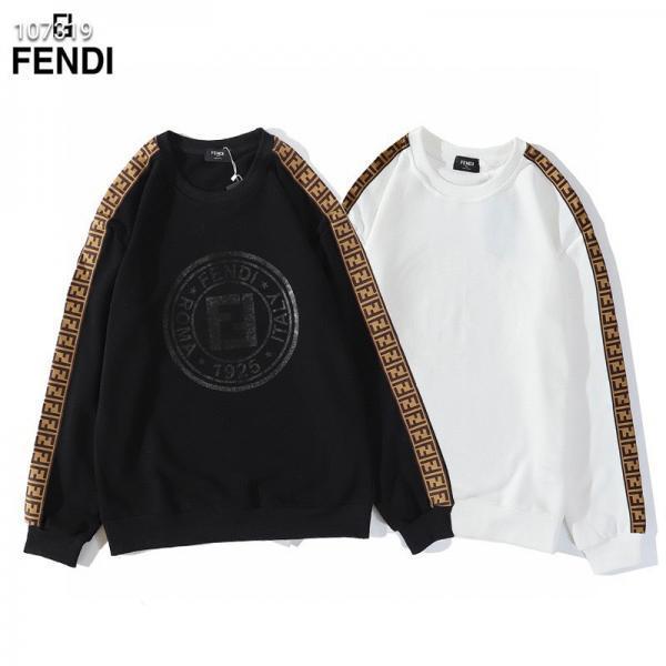 フェンディ トレーナー FFロゴ カジュアル 高品質 FENDI スウェット クルーネック 黒 白 メンズ レディ ...