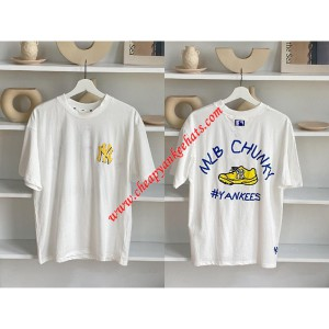 MLB NY Chunky Short Sleeve T-shirt New York Yankees White Outlet New York Yankees Cheap Sale Store